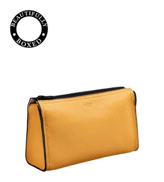 The Marine Leather Washbag in mustard yellow & black | OSPREY LONDON