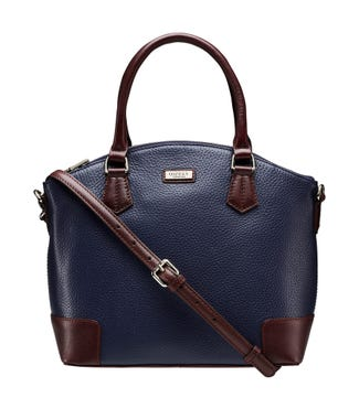 The Marlow Leather Grab in navy blue | OSPREY LONDON