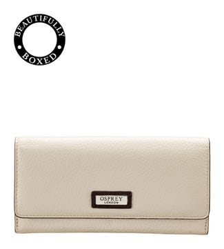 The Marlow Leather Matinee Purse in cream | OSPREY LONDON