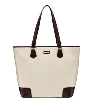The Marlow Leather Shoulder Tote in cream | OSPREY LONDON