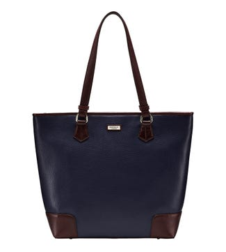 The Marlow Leather Shoulder Tote in navy blue | OSPREY LONDON