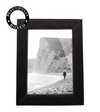 The Medium Boxed Leather Photo Frame in black | OSPREY LONDON
