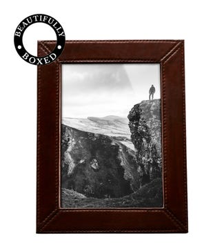 The Medium Boxed Leather Photo Frame in chocolate | OSPREY LONDON