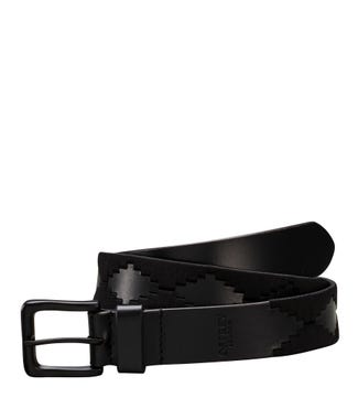 The Mendoza 3 and a Half Cm Leather Jeans Belt in black and black | OSPREY LONDON
