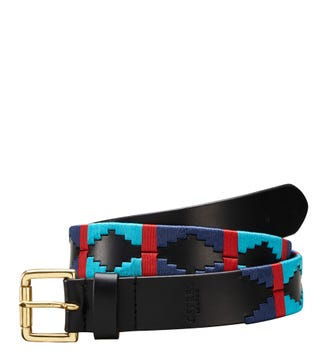 The Mendoza 3 and a Half Cm Leather Jeans Belt in black blue & turquoise | OSPREY LONDON