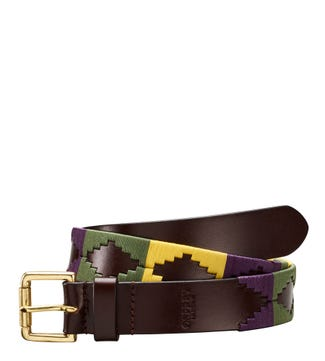 The Mendoza 3 and a Half Cm Leather Jeans Belt in cognac olive purple & yellow | OSPREY LONDON