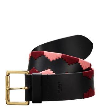 The Mendoza 6cm Leather Belt in black | OSPREY LONDON