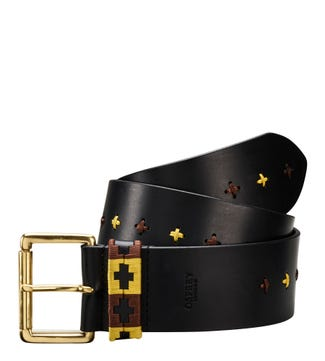 The Mendoza Cross-Stitch Wide Leather Belt in black | OSPREY LONDON