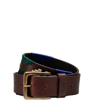 The Mendoza Polo 3.5cm Leather Jeans Belt in chocolate | OSPREY LONDON