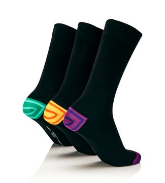 Men's Luxury Bamboo Socks Set of 3 in black with magenta, mint & yellow heel and toe | OSPREY LONDON