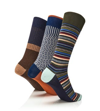 Men's Luxury Cotton Intarsia Socks Set of 3 | OSPREY LONDON