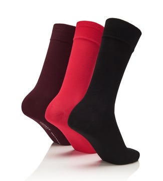 Men's Rainbow Luxury Cotton Rich Socks Set of 3 City in black, red & burgundy | OSPREY LONDON