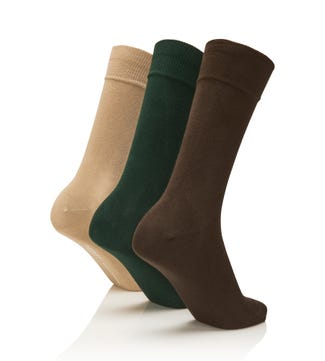 Men's Rainbow Luxury Cotton Rich Socks Set of 3 Countryman in chocolate & forest green & beige | OSPREY LONDON