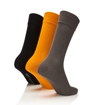 Men's Rainbow Luxury Cotton Rich Socks Set of 3 Jazz in light grey & black & tumeric | OSPREY LONDON