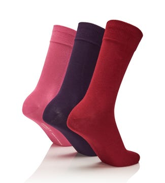 Men's Rainbow Luxury Cotton Rich Socks Set of 3 Lovers in bordeaux & purple & dark pink | OSPREY LONDON