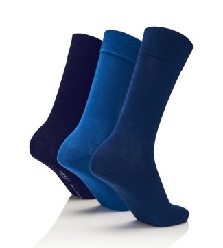 Men's Rainbow Luxury Cotton Rich Socks Set of 3 Maritime in cobalt & ultramarine & midnight blue | OSPREY LONDON