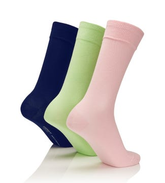 Men's Rainbow Luxury Cotton Rich Socks Set of 3 Spring in rose & mint & navy | OSPREY LONDON