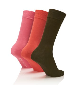 Men's Rainbow Luxury Cotton Rich Socks Set of 3 Tahiti in sage & guava & light pink | OSPREY LONDON