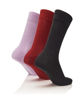 Men's Rainbow Luxury Cotton Rich Socks Set of 3 Twilight in dark grey & bordeaux & lilac | OSPREY LONDON