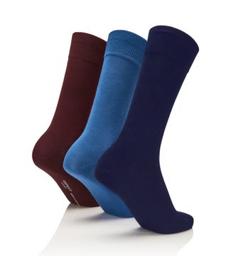 Men's Rainbow Luxury Cotton Rich Socks Set of 3 Mariner in midnight blue & ultramarine & burgundy | OSPREY LONDON