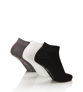 Men's Luxury Bamboo Trainer Socks Set of 3 in monotone black & white & grey | OSPREY LONDON