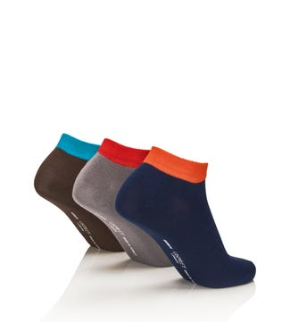 Men's Luxury Bamboo Trainer Socks Set of 3 in tipped navy & grey & dark green | OSPREY LONDON