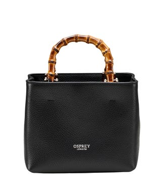 The Mini Clio Italian Leather Grab in black | OSPREY LONDON