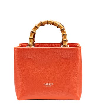 The Mini Clio Italian Leather Grab in burnt orange | OSPREY LONDON