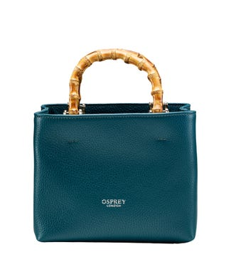 The Mini Clio Italian Leather Grab in teal | OSPREY LONDON