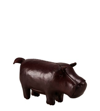 The Miniature Leather Hippopotamus in mahogany brown | OSPREY LONDON