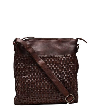 The Miriam Reversible Leather Cross-body in chocolate | OSPREY LONDON