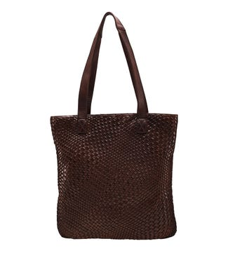 The Miriam Reversible Leather Shoulder Tote in chocolate | OSPREY LONDON