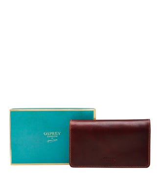 The Narissa Leather Matinee Purse in cognac | OSPREY LONDON