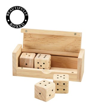 Natural Wooden Boxed Dice | OSPREY LONDON