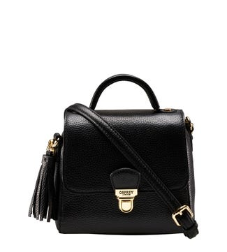 The Mini Phoebe Leather Grab in black | OSPREY LONDON