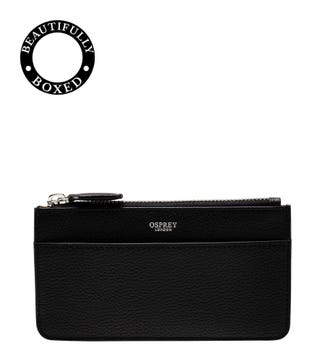 The Pimlico Leather Card Pouch in black | OSPREY LONDON