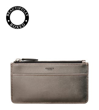 The Pimlico Leather Card Pouch in gunmetal | OSPREY LONDON