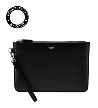 The Pimlico Leather Clutch/Pouch in black | OSPREY LONDON