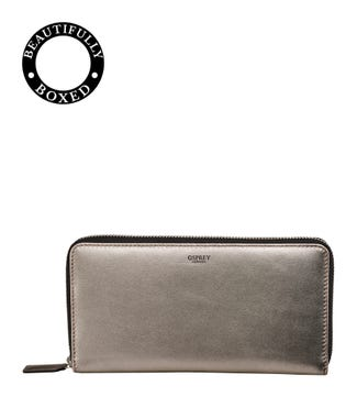 The Pimlico Leather Zip-Round Travel Purse in gunmetal | OSPREY LONDON