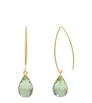 The Popsicle 18ct Gold Vermeil Dewdrop Earrings in apple green | OSPREY LONDON