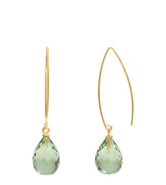 The Popsicle 18ct Gold Vermeil Dewdrop Earrings in apple green | OSPREY LONDON