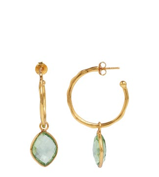 The Popsicle 18ct Gold Vermeil Hoop Earrings in apple green | OSPREY LONDON