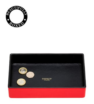 The Rainbow Leather Coin Tray in red  | OSPREY LONDON