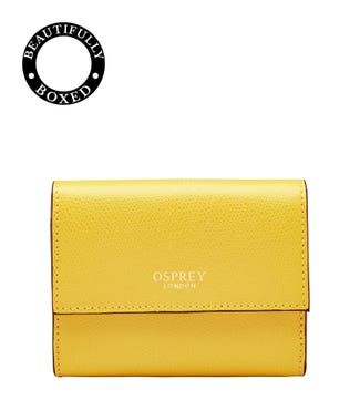 The Rainbow Leather Matinee Purse in lemon yellow  | OSPREY LONDON
