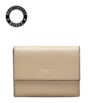 The Rainbow Leather Matinee Purse in taupe  | OSPREY LONDON