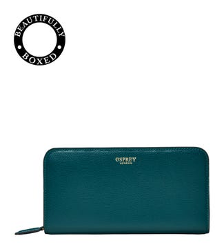 The Rainbow Leather Purse Teal | OSPREY LONDON