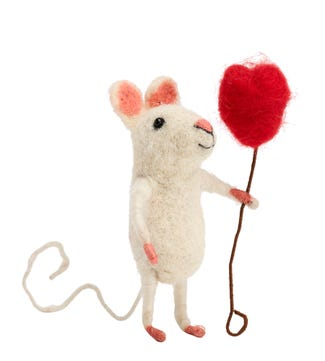 Heart Balloon Mouse in Felted Wool | OSPREY LONDON