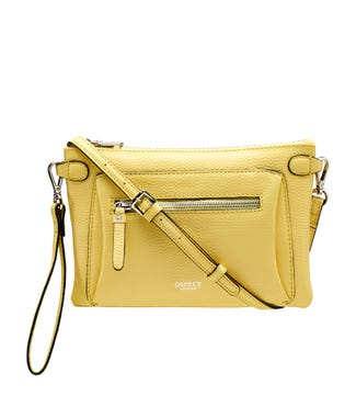 The Ruby Leather Cross-Body Clutch in citrus | OSPREY LONDON