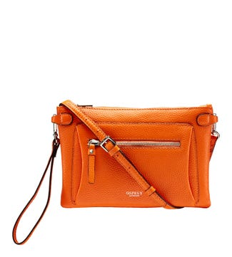 The Ruby Leather Cross-Body Clutch in clementine orange | OSPREY LONDON