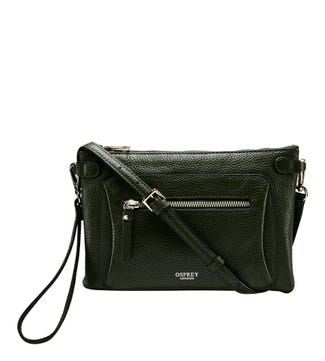 The Ruby Leather Cross-Body Clutch in fir green| OSPREY LONDON